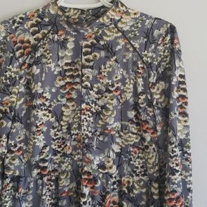 Zara Mock Neck Floral Babydoll Dress